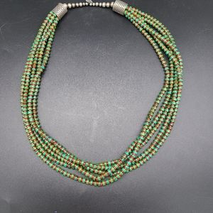 Jewelry - Navajo SterlingTurquoise Coral 5 Strand Necklace